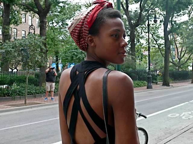 Avion P. multi strap backless top and war bride styled printed summer scarf on Christopher Street