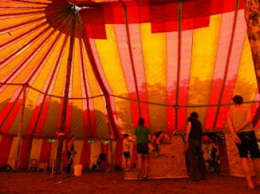 The group set up a circus tent for practices.