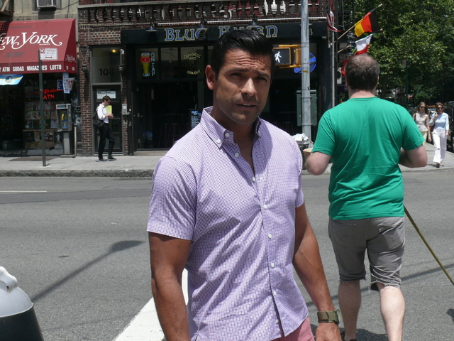 Mark Consuelos' dashing  prep style in checks and washed Nantucket shades on Houston Street.