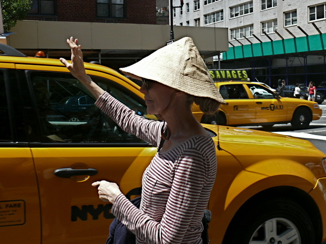 Familiar city gestures help highlight a traditional Southeast Asia conical hat and Basque stripe knit on 6th Ave.