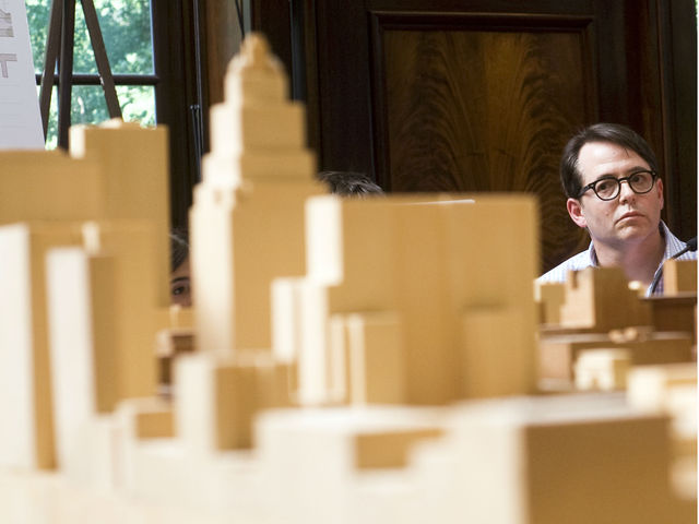 <p>Matthew Broderick before testifying during the NYU expansion hearing at City Hall on June 29, 2012. Broderick spoke against the plan.</p>