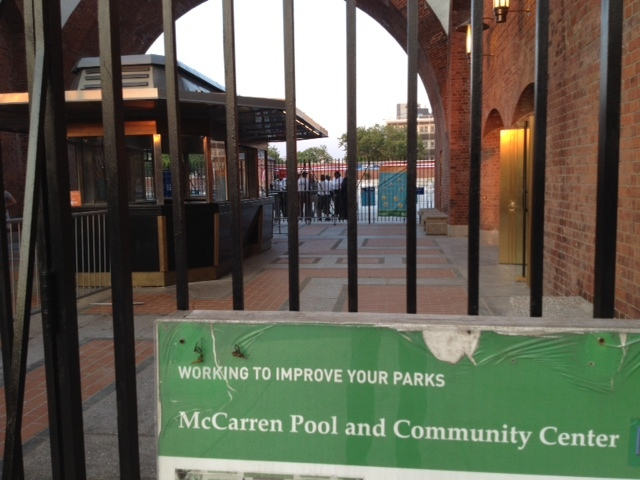 The McCarren Pool was closed after a brawl between pool-goers and lifeguards June 29, 2012.