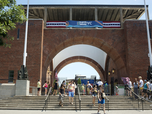 The entrance to the newly opened McCarren Park Pool recreation facility. June 30, 2012.