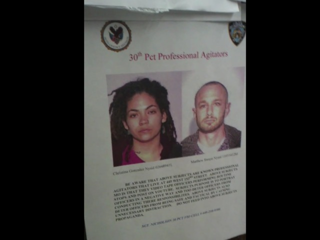 "NYPD 30th Precinct ""professional agitator"" flyer"