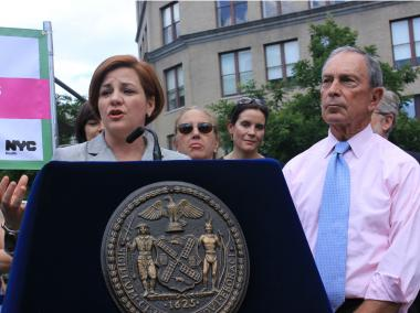 Speaker Christine Quinn and Mayor Michael Bloomberg both touted a plan to give New Yorkers on food stamps a $2 coupon for shopping at farmers markets as a life- and money-saver, July 2, 2012.