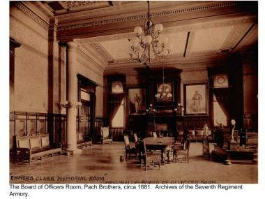 The Board of Officers room at the Park Avenue Armory, circa 1881, just after its design and construction.