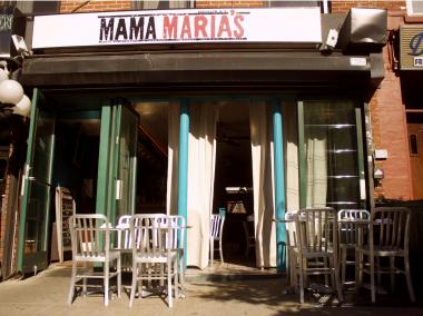 Mama Maria's swaps out its old awning for a simple sign.
