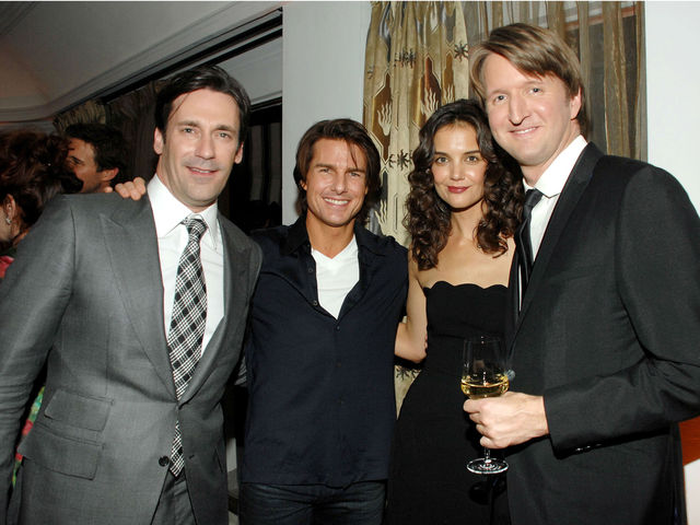 Jon Hamm, Tom Cruise, Holmes, and Tom Hopper at a Golden Globes party at the Chateau Marmont, Penthouse, in Los Angeles, CA on January 14, 2011.