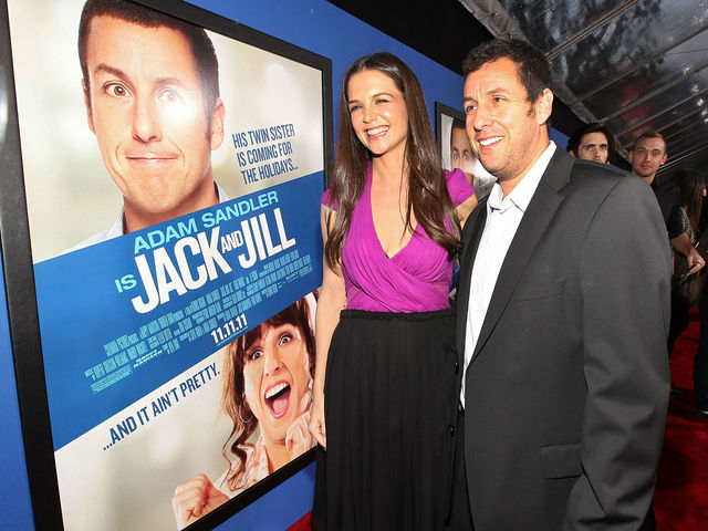 Holmes with Adam Sandler at the premiere of 'Jack and Jill' on November 6, 2011.