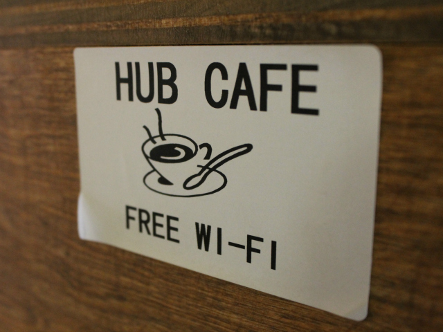 Patrons have access to free wireless internet at the Hub Kitchen and Café.