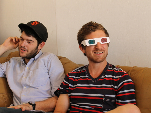 Dennis Roberts showed off the 3D glasses used in the three-dimensional photo booths.