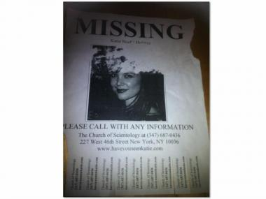 "This ""Wanted"" poster for Katie Holmes was spotted in Hell's Kitchen Tuesday."