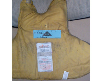 The Kevlar vest that saved Brian Grove's life. The cop was pursuing an armed suspect in a stairwell of a Lower East Side housing project on July 5, 2012.