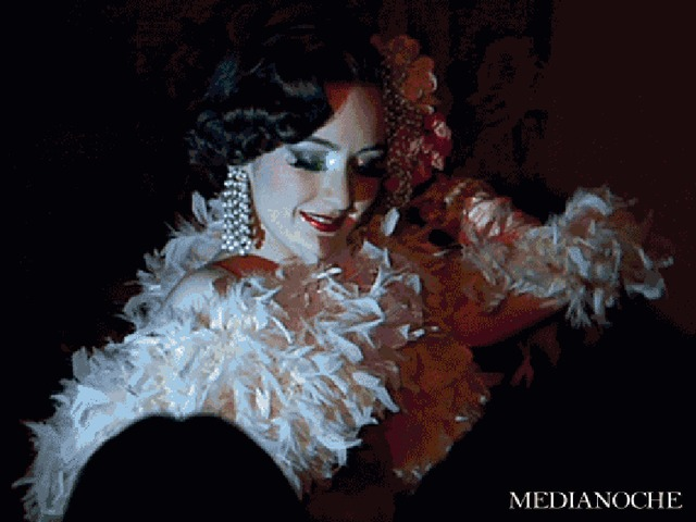 <p>A burlesque performer at TriBeCa&#39;s Duane Park.</p>
