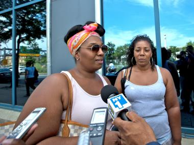 Relatives of John Barnett, the MTA cop who was stabbed in the eye at the LIRR Jamaica Station on July 4, 2012, visit him at Jamaica Hospital.