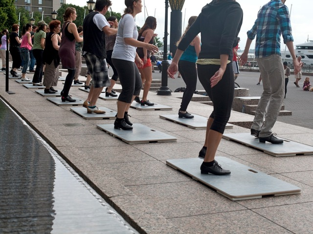 More than 150 tap dancers will perform in the World Financial Center Plaza Friday, July 13, 2012.