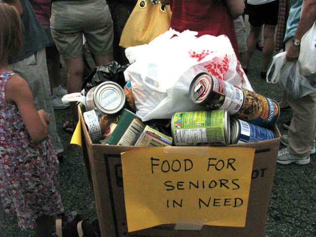 Canned food was collected for seniors at a June 2012 rally outside the closed Key Food in Windsor Terrace, where residents demanded that a supermarket move into the space.