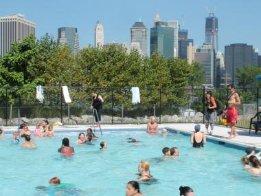 The Pop-Up pool hosted its first swimmers Friday morning.