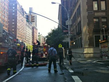 Firefighters raced to a fire at 1112 Park Avenue at East 90th Street on July 6, 2012.