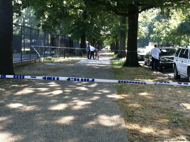 Police investigate the Parade Grounds below Prospect Park, where 19-year-old Jeffrey Jeune was stabbed to death July 8, 2012.
