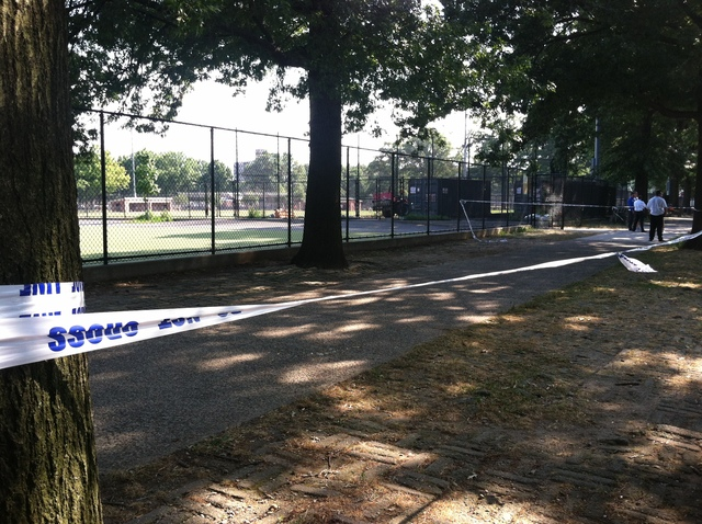 Police investigate the Parade Grounds near Prospect Park, where 19-year-old Jeffrey Jeune was stabbed to death July 8, 2012.