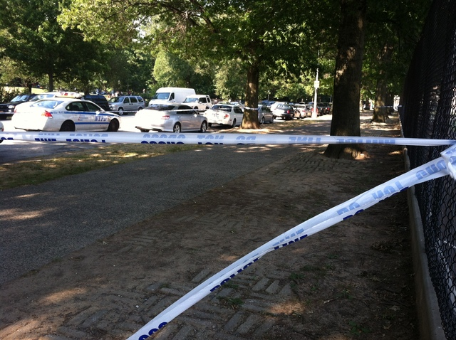Police tape closes off the Parade Grounds near Prospect Park, where 19-year-old Jeffrey Jeune was stabbed to death July 8, 2012.