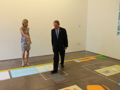 <p>Mayor Michael Bloomberg steps into the kitchen of the model &quot;micro-unit.&quot;</p>