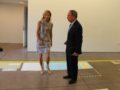 <p>Mayor Michael Bloomberg and City Planning Commissioner Amanda Burden tour the layout of a proposed &#39;micro-unit.&#39;</p>