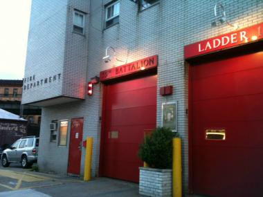 Battalion 35 Engine 216 and Ladder 108 responded swiftly to the fire that broke out at the NYPD precinct next door.