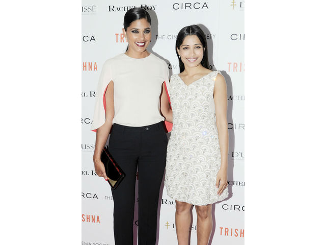 Rachel Roy and Freida Pinto at the Cinema Society screening of
