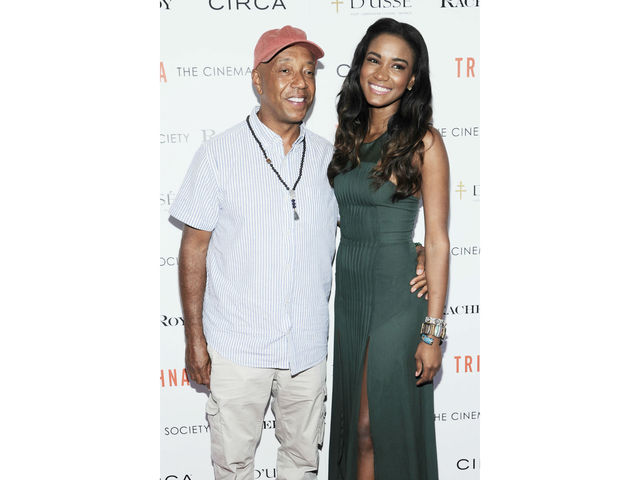 Russell Simmons and Leila Lopes at the Cinema Society screening of