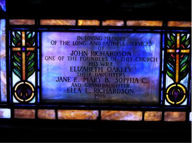 A stained glass window was dedicated to John Richardson, Cooper's great-great-great grandfather, in 1916.