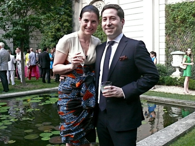 A very wonderful Dutch wax print inspired dress on Melissa Roth and a the very sharp Gerardo Mendez in the 7th ave garden enclave