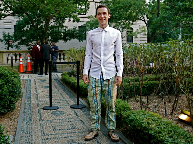 Designer Brock Forsblom, perfectly on trend in a pair of bold printed pants in cotton