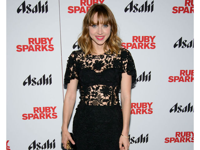 Cool in black lace, Zoe Kazan at the premiere of