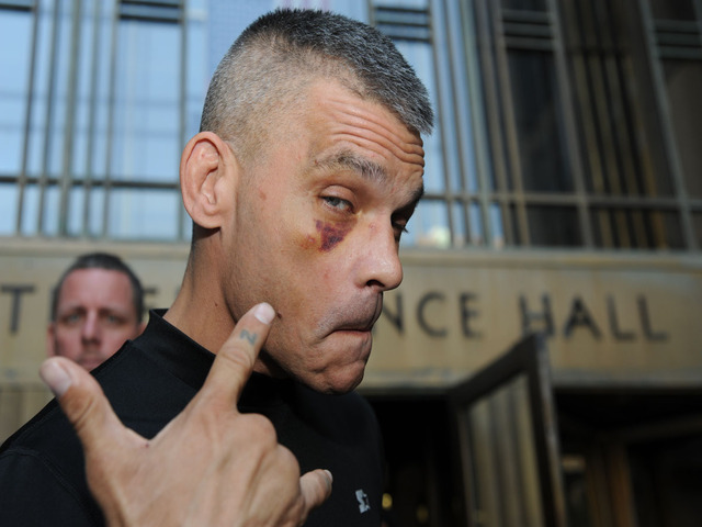 <p>Harley Flanagan, Cro-Mags former bassist, outside of Manhattan Criminal Court after he was charged with assaulting two of his band mates at a Webster Hall show, July 12, 2012.</p>