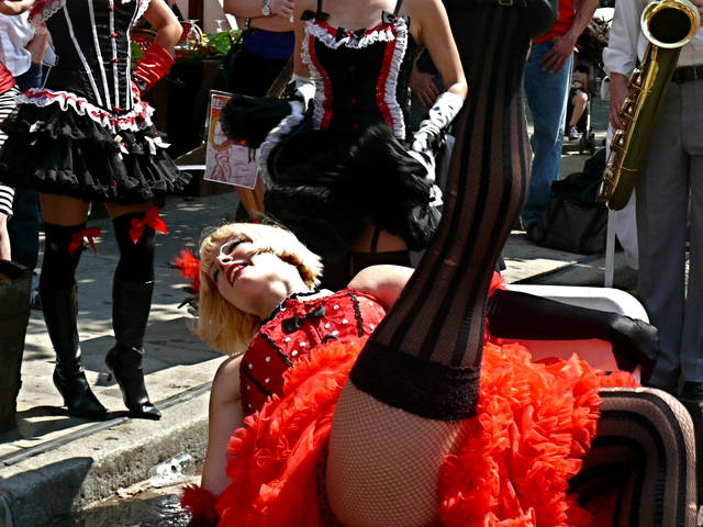 One of the can-can dancers.