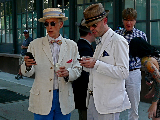 White linen jackets and straw hats offer ideal look with a vintage touch.