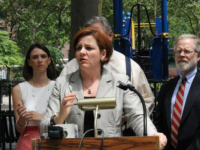 <p>City Council Speaker Christine Quinn speaks at the anti-violence rally.</p>