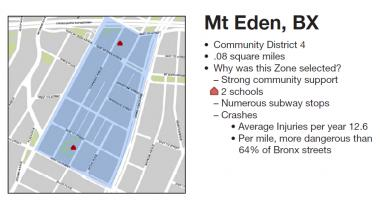 This section of Mount Eden is one of 13 locations across city to host a Slow Zone, with lower speed limits and other traffic safety measures.
