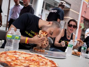 The third annual pizza eating competition takes place at the Mulbery Street Bar in Little Italy on July 14th, 2012.