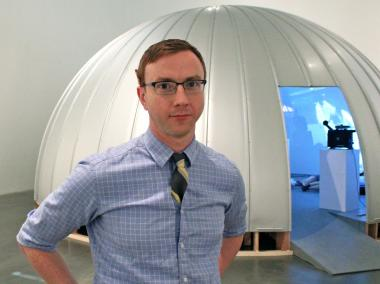 Joshua Edwards is in charge of installing installations at the New Museum.