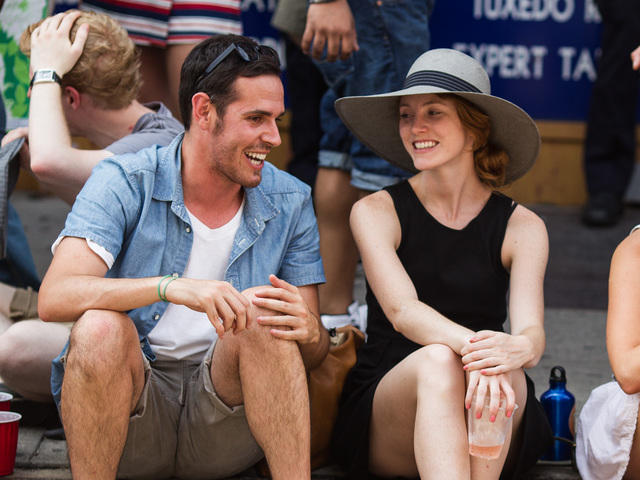 A couple enjoys Bastille Day celebrations in Brooklyn on July 15th, 2012.