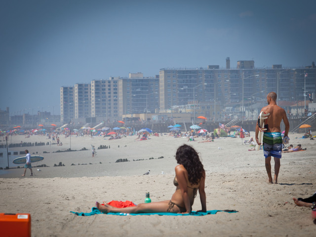 Cooling off by Rockaway Beach on July 16.