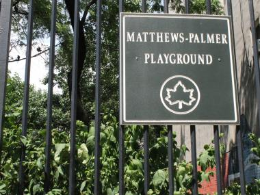 The woman was trapped in Matthews-Palmer Playground on Wednesday, officials said.