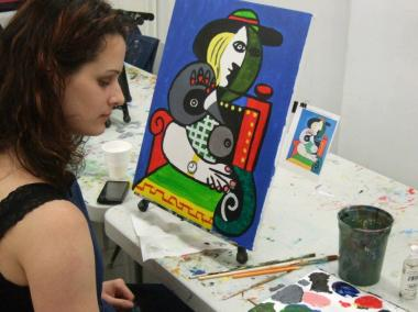 "A student painted Picasso's ""Seated Woman With Wrist Watch."""