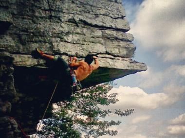"Carlos Munoz, a manager at Brooklyn Boulders, climbed ""The Dangler"" in the Gunks."