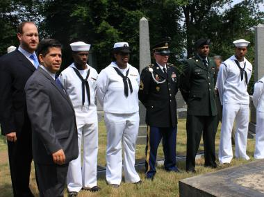 Councilmen Greenfield and Gentile with the six navy sailors at ceremony honoring ten fallen Mexican-American War soldiers.