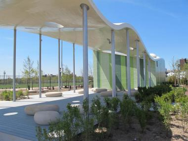 Beach 30th Street features a new pavilion.