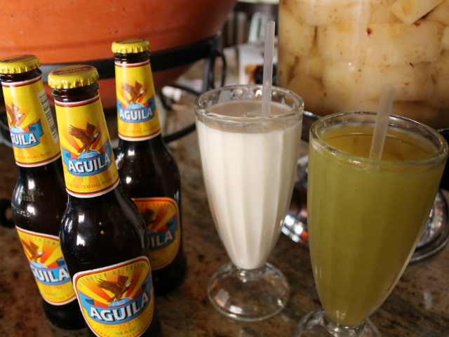 Club Colombia beer and fresh fruit juices help tropical Colombians cool off in the summer.